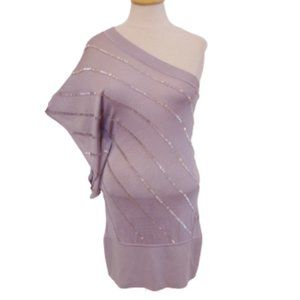 Marciano Silver 1 Shoulder Knit w/Bugle Beading- M